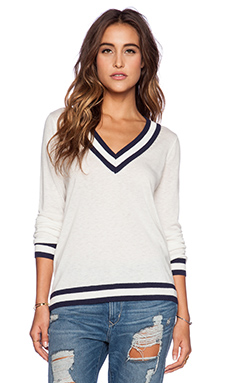 C&C California V Neck Tipped Sweater in White & Navy