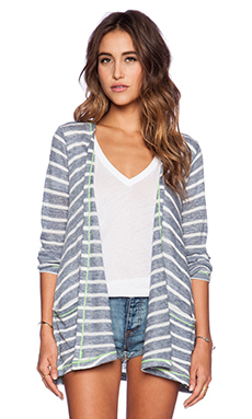 C&C California Stripe Drape Cardigan in Dutch Blue