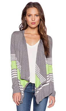 C&C California Mixed Stripe Cardigan in Light Heather Grey