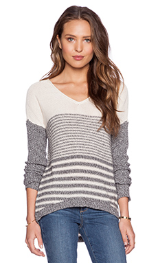 C&C California Stripe Sweater in Heather Grey