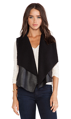 C&C California Faux Sherpa Vest in Black