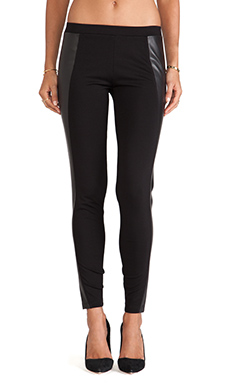 C&C California Faux Leather Detail Leggings in Black
