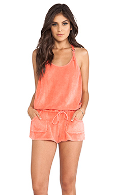 C&C California Terry Romper in Living Coral