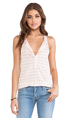 C&C California Racer Henley Tank in Tropical Peach
