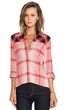C&C California Mix Plaid Hi Low Shirt in Chrysanthemum