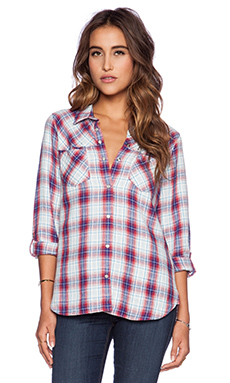 C&C California Dobby Plaid Shirt in Twilight Blue