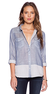 C&C California Double Face Button Up in Chambray Multi