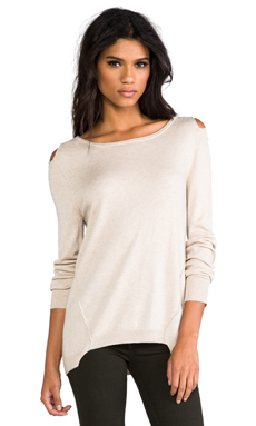 Central Park West Rhinelander Cutout Sweater With Cutout Shoulders in Oatmeal