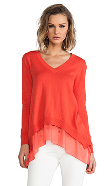 Central Park West Chile Layered V-Neck Sweater in Coral