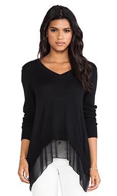 Central Park West Rye V Neck Sweater in Black