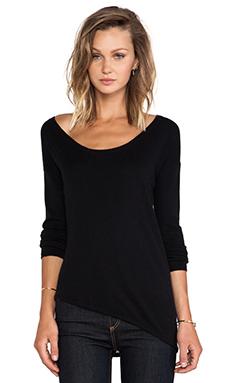 Central Park West Syracuse Asymmetric Hem Sweater in Black