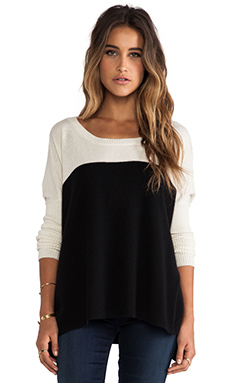 Central Park West Luxe Cashmere Colorblock Sweater in Ivory & Black