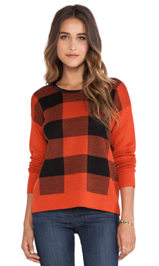 Central Park West Buffalo Plaid Sweater in Red Buffalo
