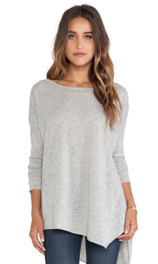 Central Park West Luxe Cashmere Asymmetric Hem Sweater in heather