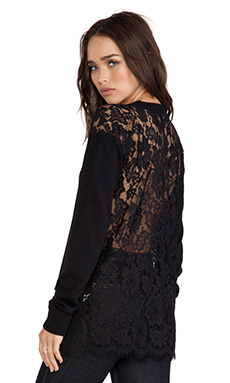 Central Park West Kingston V Neck Sweater in Black