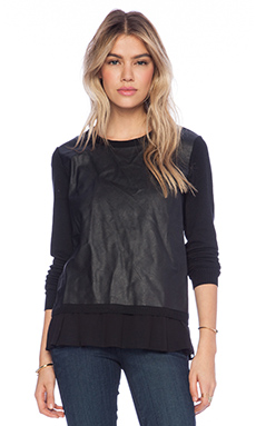 Central Park West Gansevoort Faux Leather Front Top in Black