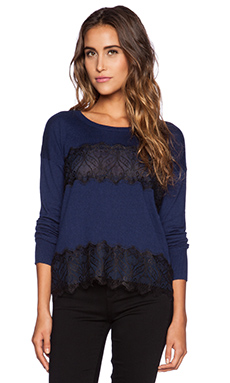 Central Park West Sweater in Navy & Black Lace