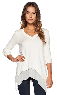 Central Park West Detroit V Neck Sweater in Ivory