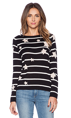 Central Park West Star Stripe Sweater in Black & White