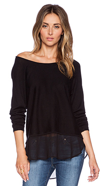 Central Park West Columbus Off the Shoulder Sweater in Black