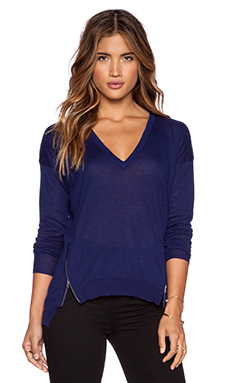 Central Park West Mesa V Neck Sweater in Midnight