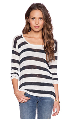 Central Park West Austin Asymmetrical Pullover Sweater in Black & White