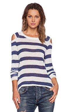Central Park West Austin Open Shoulder Sweater in Navy & Chalk