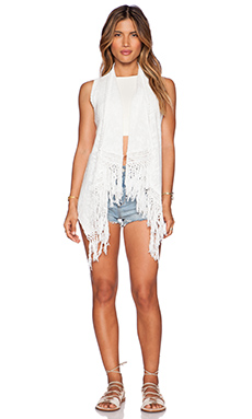Central Park West Fringe Vest in White