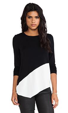 Central Park West Niagara Asymmetric Hem Sweater in Black