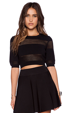 Central Park West Perforated Insert Crop Top in Black
