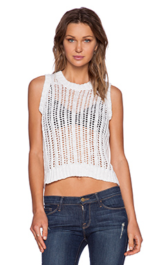 Central Park West San Jose Cropped Sweater Vest in Optic White
