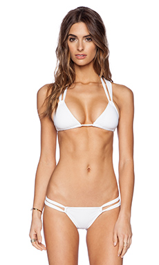 Charlie by Matthew Zink Robyn Twist Back Triangle Bikini Top in White