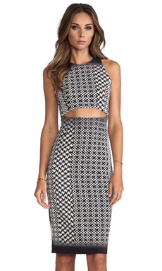 Charles Henry Cutout Dress Ombre in Black & White
