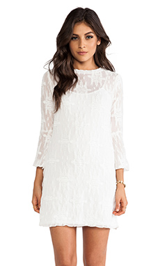 Charles Henry Bell Sleeve Dress in White Embroidery