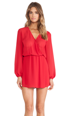 Charles Henry Wrap Front Dress in Red