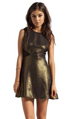 Charles Henry Mesh Insert Dress in Gold Jacquard