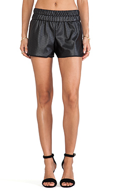 Charles Henry Faux Leather Track Short in Black