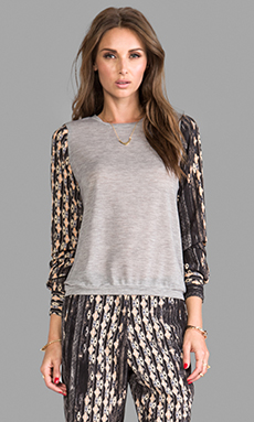 Charles Henry Knit Pullover w/ Chiffon Sleeves in Stripe Multi