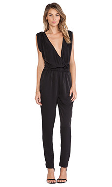 Charles Henry Wrap Front Jumpsuit in Black