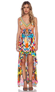 Camilla V Neck Asymmetrical Hem Dress in Holi