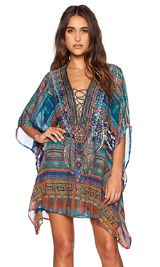 Camilla Short Lace Up Kaftan in Braided Nation