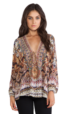 Camilla Lace Up Blouse in The Chameleon