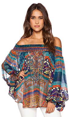 Camilla Off the Shoulder Blouse in Braided Nation