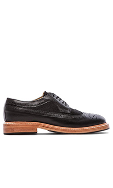 Caminando Long Wingtip Shoes with haircalf in Black Leather