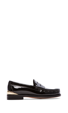 Caminando Heel Cup Penny Loafers in Black Patent