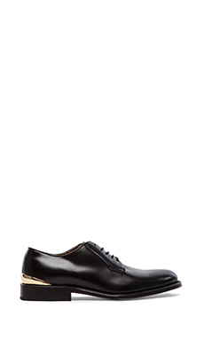 Caminando Heel Cup Plain Oxford in Black Leather