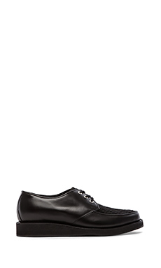 Caminando Two Tone Billy Shoe with Calf Hair in Black Leather