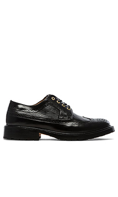 Caminando Long Wingtip Shoes in Black