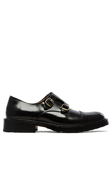 Caminando Double Monk Strap Shoes in Black