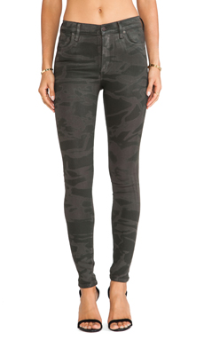Citizens of Humanity Rocket Skinny in Camo Leatherette Green
